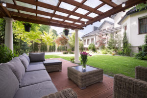Patio with luxury awning furniture with wooden awning