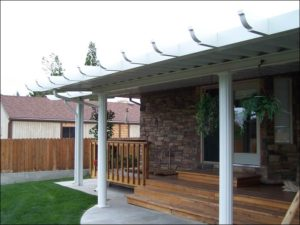 Backyard Patio with White Patio Cover
