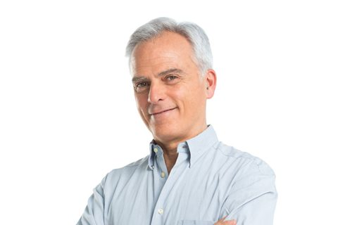 Elderly Man In Blue Shirt