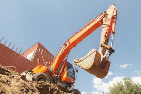 Orange Bobcat Vehicle in Construction Zome